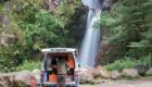 Patagonia fly fishing road trip van with waterfall