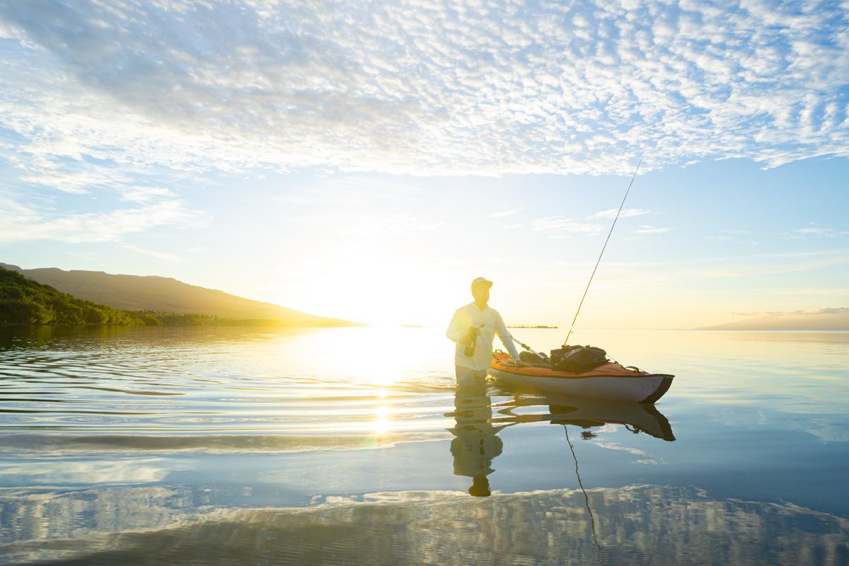 molokai hawaii kayak fly fishing bonefish sunrise